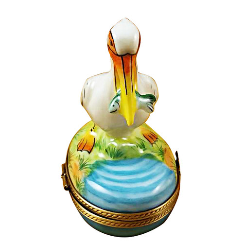 Limoges Imports Pelican W/ Fish Limoges Box