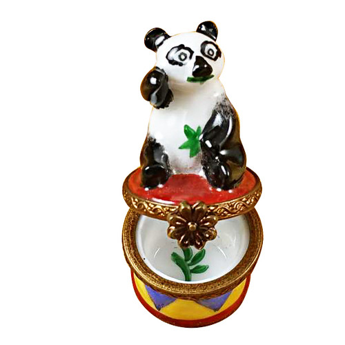 Limoges Imports Small Panda On Round Base Limoges Box