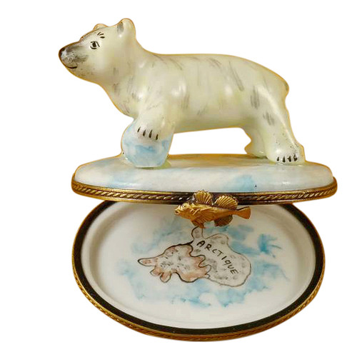 Limoges Imports Polar Bear W/Blue Ball Limoges Box