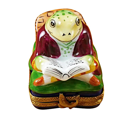 Limoges Imports Fishing Frog With Book Limoges Box