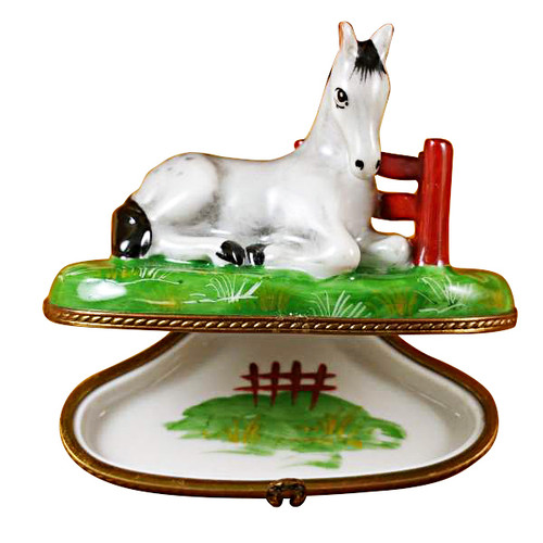 Limoges Imports White Horse By Fence Limoges Box
