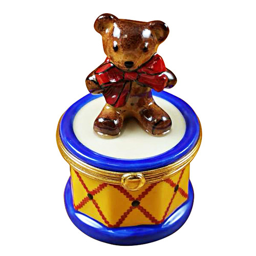 Limoges Imports Bear On Drum Limoges Box