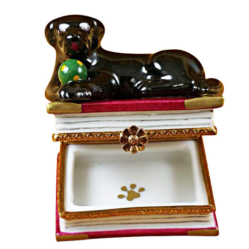 Limoges Imports Black Lab On Book Limoges Box