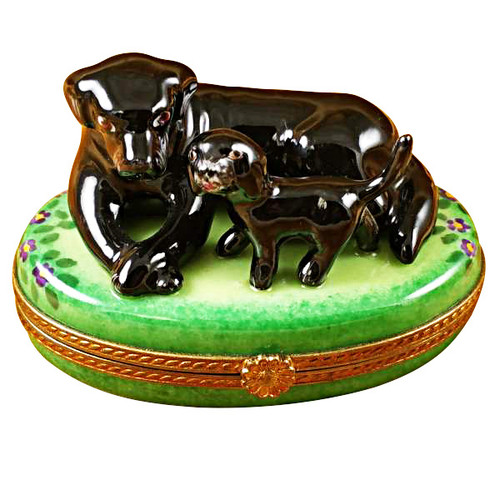Limoges Imports Black Lab & Puppy Limoges Box