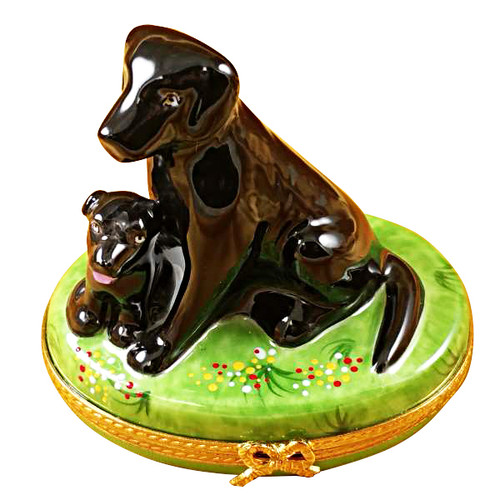 Limoges Imports Black Lab W/Puppy Limoges Box