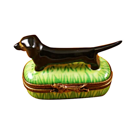 Limoges Imports Black & Tan Dachshund Limoges Box