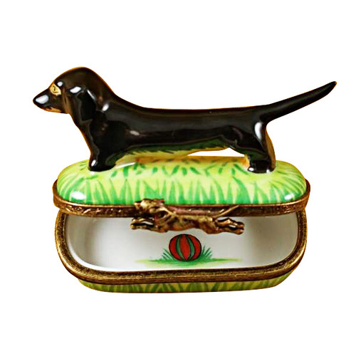Limoges Imports Black & Tan Dachshund Limoges Box