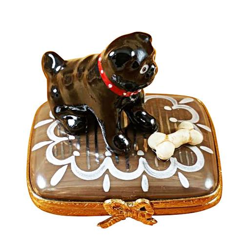 Limoges Imports Black Pug W/ Bone Limoges Box