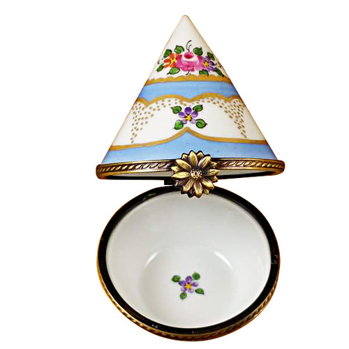 Limoges Imports Blue And Floral Cone Shape Limoges Box