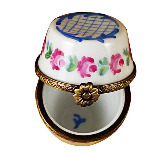 Limoges Imports Tall Blue/White Limoges Box