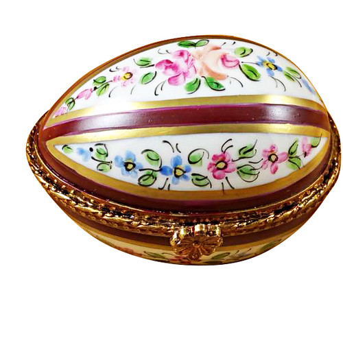 Limoges Imports Burgundy Striped Egg Limoges Box