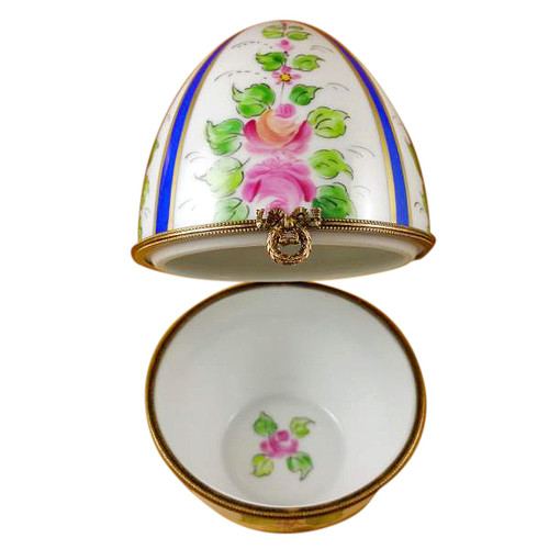 Limoges Imports Large Blue Striped Egg W/ Flowers Limoges Box