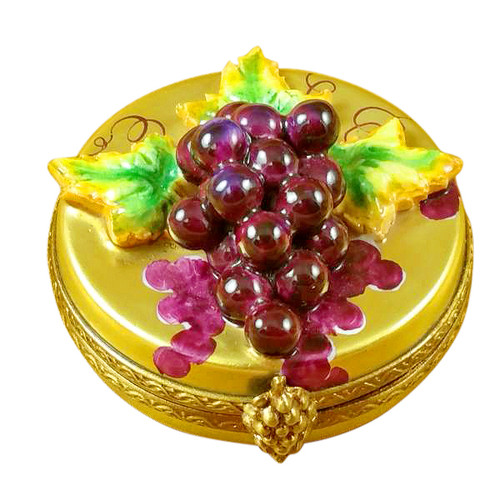 Limoges Imports Grapes On Gold Oval Limoges Box