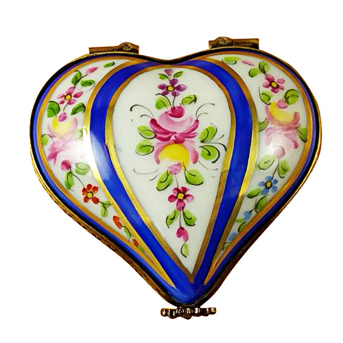 Limoges Imports Blue Striped Heart Limoges Box