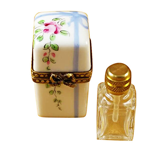 Limoges Imports White Blue W/1 Bottle Limoges Box