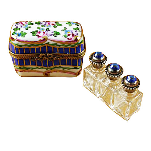 Limoges Imports Blue And Floral Chest With Three Bottles Limoges Box