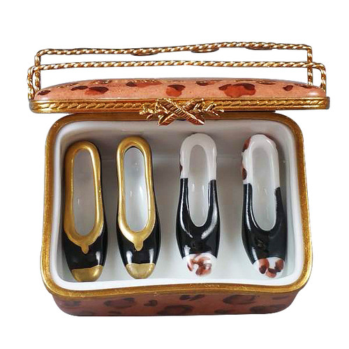Limoges Imports Shoe Box W/2 Pair Shoes Limoges Box