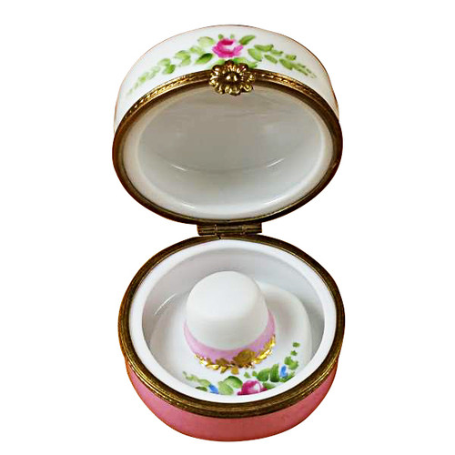 Limoges Imports Flowery Hat Box W/Hat Limoges Box