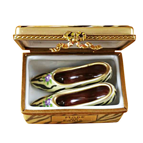 Limoges Imports Tiger Shoe Box W/ Shoes Limoges Box