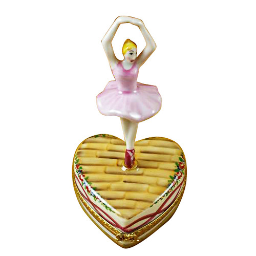Limoges Imports Ballerina On Heart Limoges Box