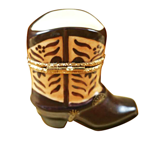 Limoges Imports Brown Cowboy Boot Limoges Box