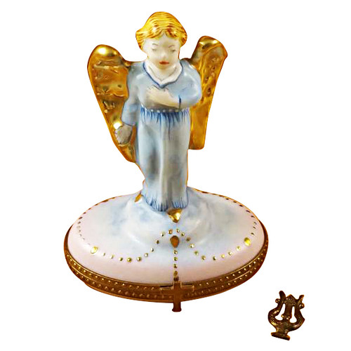 Limoges Imports Gabriel Angel With Harp Limoges Box