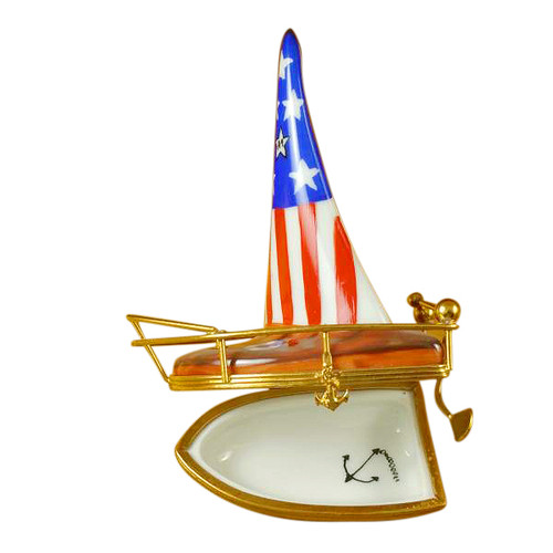 Limoges Imports Usa Sailboat With Rudder Limoges Box