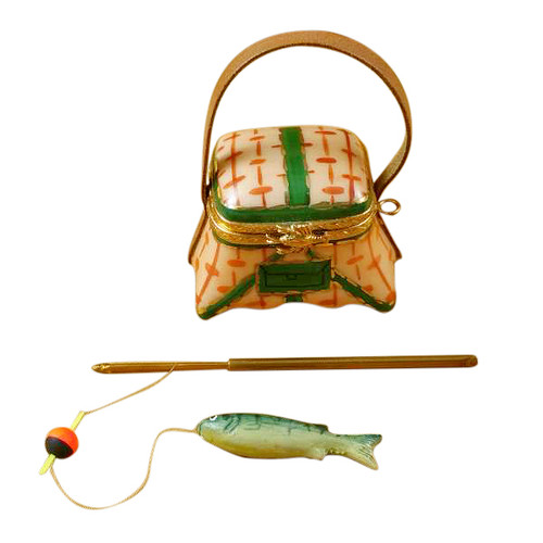 Limoges Imports Fishing Basket W/Rod Limoges Box