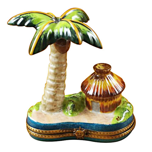 Limoges Imports Palm Tree W/Hut Limoges Box