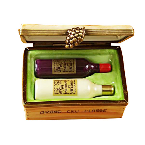 Limoges Imports Wine Crate W/2 Bottles Limoges Box