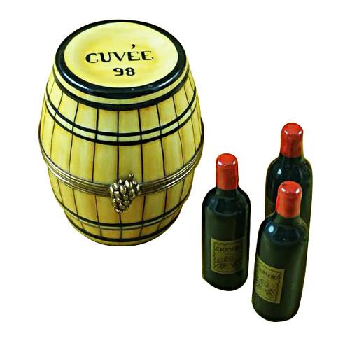 Limoges Imports Wine Barrel W/3 Bottles Limoges Box