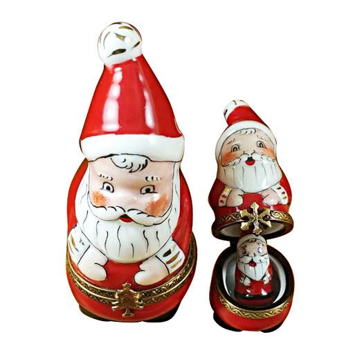 Limoges Imports 3 Stacking Santas Limoges Box