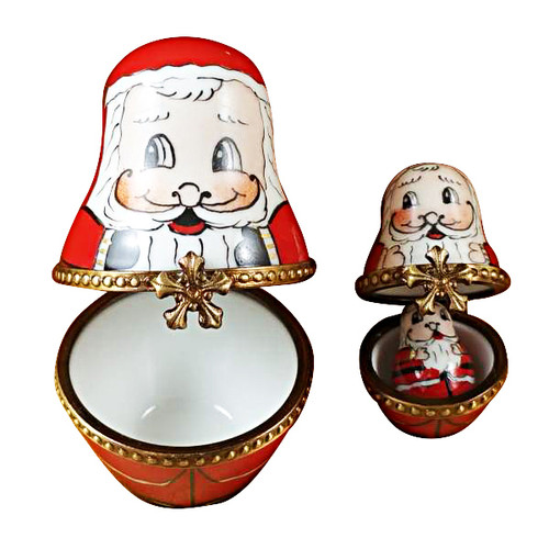 Limoges Imports 3 Stacking European Santas Limoges Box TX188-L
