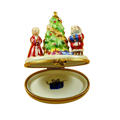 Limoges Imports Mr. & Mrs. Claus By Tree Limoges Box