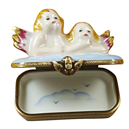 Limoges Imports Two Angels On Blue Base Limoges Box