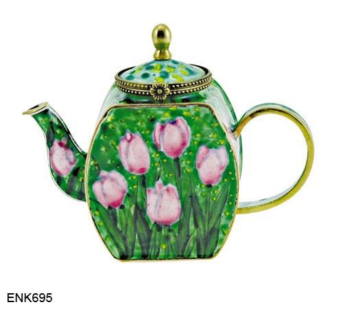ENK695 Kelvin Chen Tulips Queen of Night Enamel Hinged Teapot
