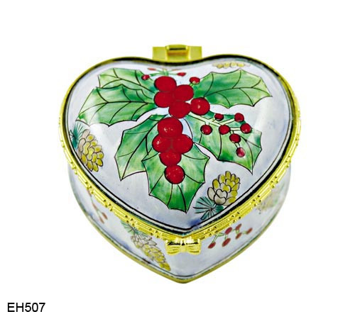 EH507 Kelvin Chen Mistletoe Enamel Hinged Box