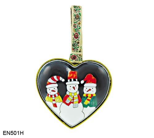 EN501H Kelvin Chen Three Snowmen Heart Enamel Ornament
