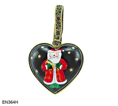 EN364H Kelvin Chen Santa Heart Enamel Ornament