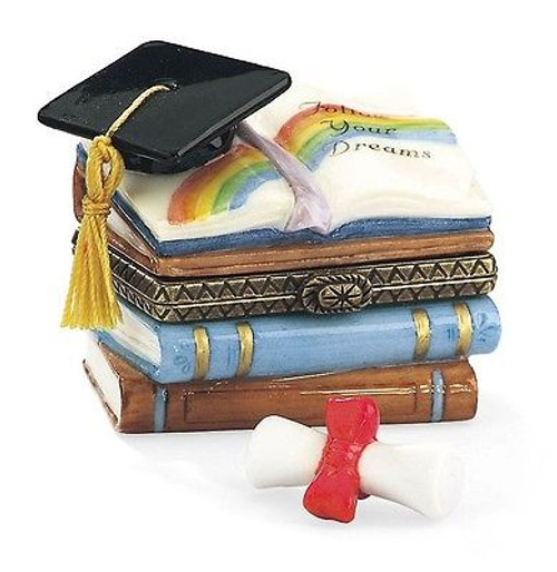 Graduation Cap and Books with Diploma