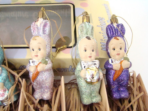 Katherine's Collection Miniature Ornaments Easter Bunny Kids Set of 6
