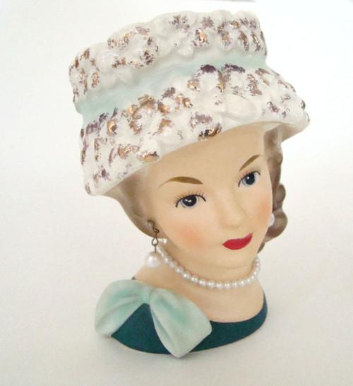 Antique Lady Head Vase Relpo K1517 in Sculpted Hat