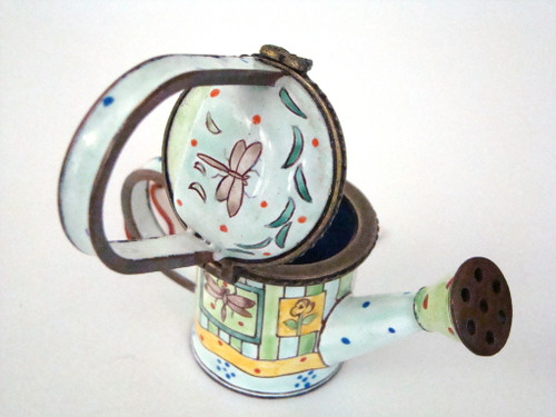 RETIRED Kelvin Chen Flowers and Dragonfly Enamel Watering Can EC1108