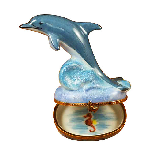 Rochard DOLPHIN WITH REMOVABLE MINI DOLPHIN Limoges Box RA321-J
