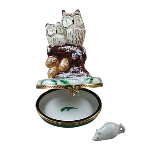 2 OWLS WITH SNOW MOUSE Limoges Box RA322-H
