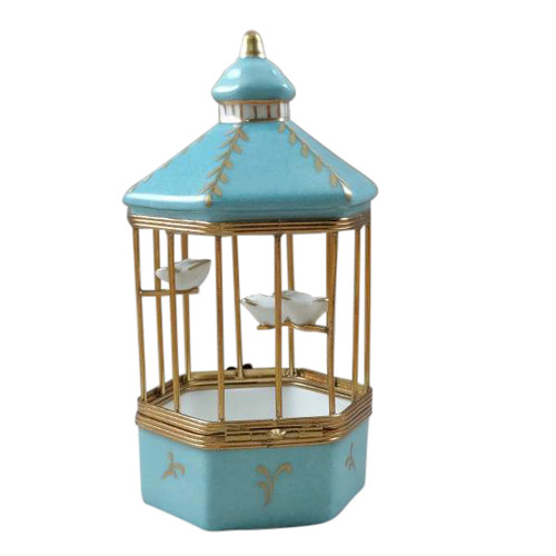 TIFFANY BLUE BIRD CAGE WITH 3 GOLD BIRDS Limoges Box RA327-J