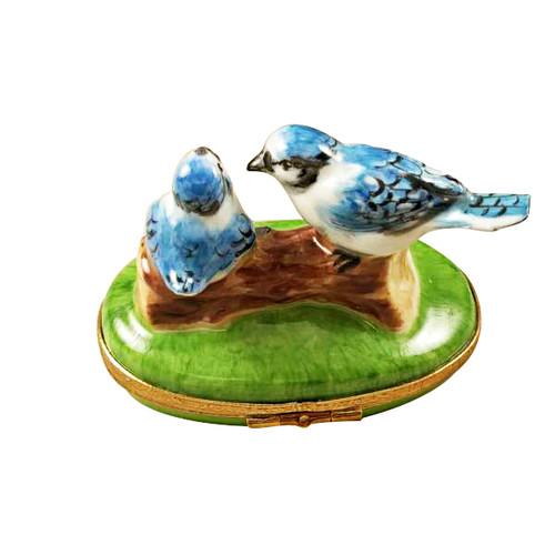 Rochard BLUE BIRDS WITH EGGS Limoges Box RA328-K