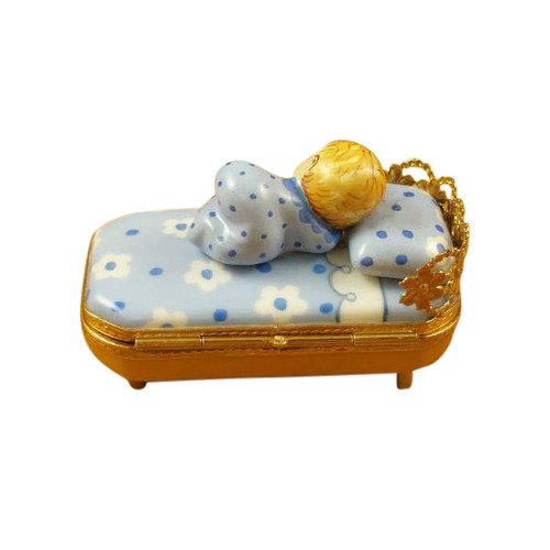 BABY IN BLUE BED W/ PACIFIER Limoges Box (RB103-K)