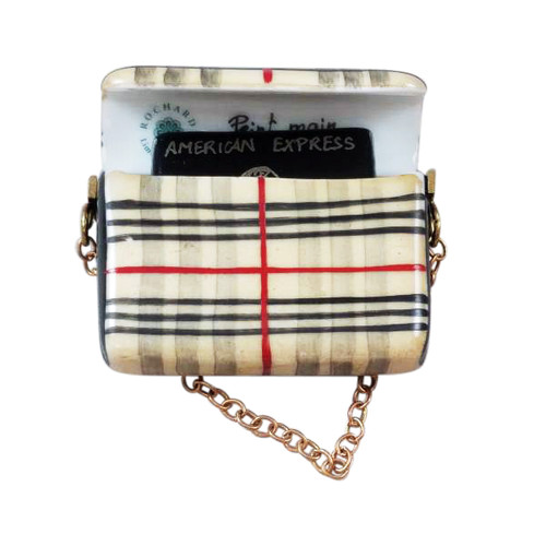 Rochard BURBERRY PURSE WITH BLACK AMERICAN EXPRESS CREDIT CARD Limoges Box RL203-J
