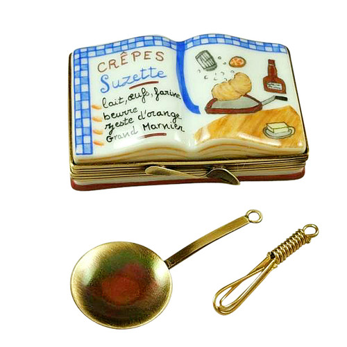 Rochard CREPES SUZETTES COOKBOOK..WITH WHISK AND PAN Limoges Box RN050-J